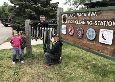 Kids with Catch from Fishing on Lake Michigan